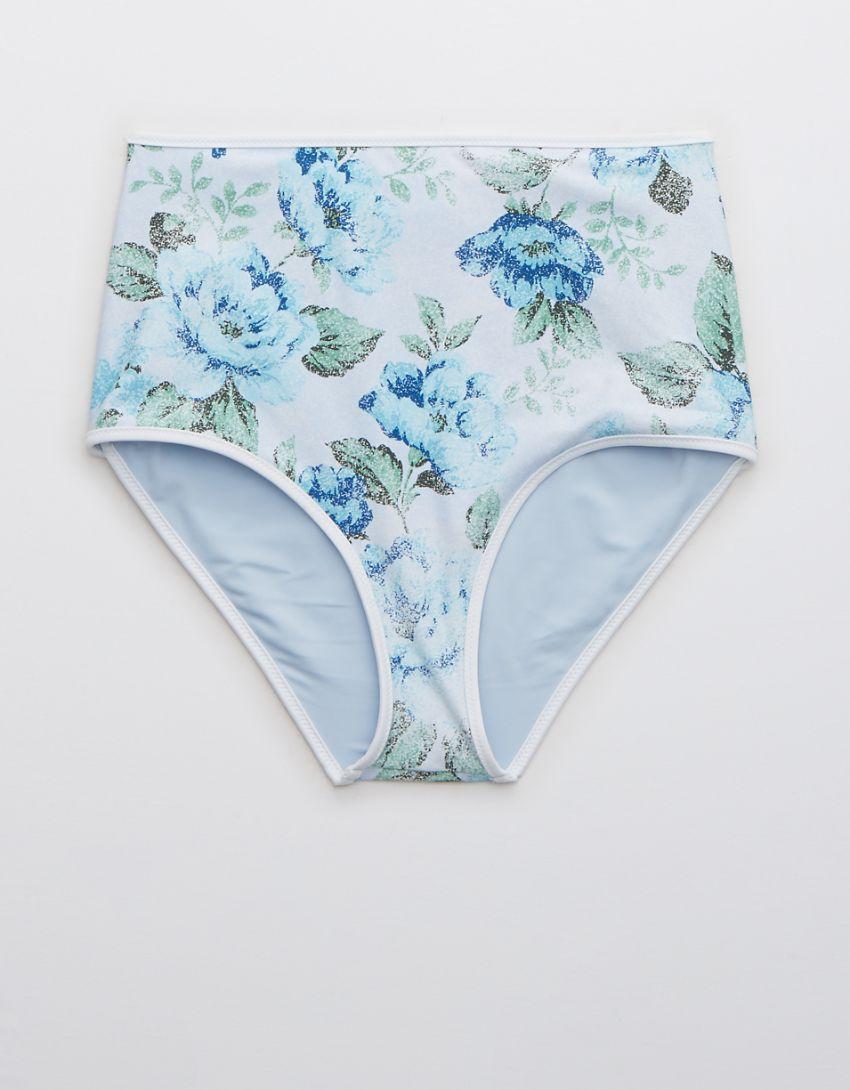 Aerie Printed Binding High Waisted Bikini Bottom