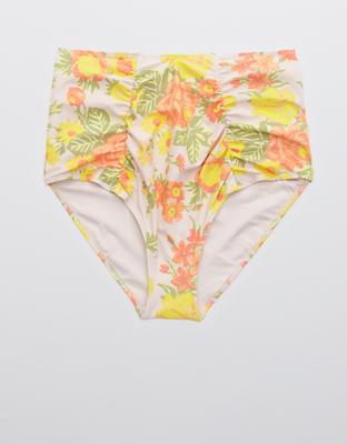 Aerie Printed Ruched High Waisted Bikini Bottom