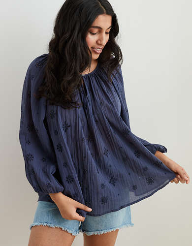 Aerie Eyelet Long Sleeve Top