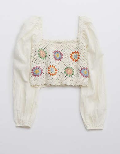 Aerie Crochet Vacay Top