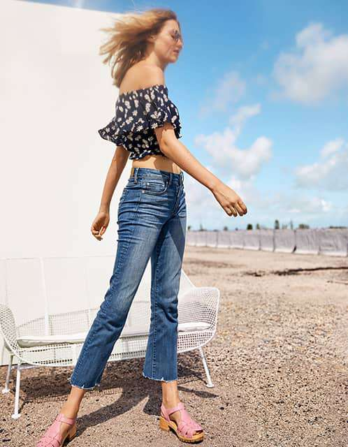 High waisted crop flare jean