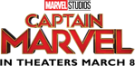 aerie logo and captain marvel in theaters march 8