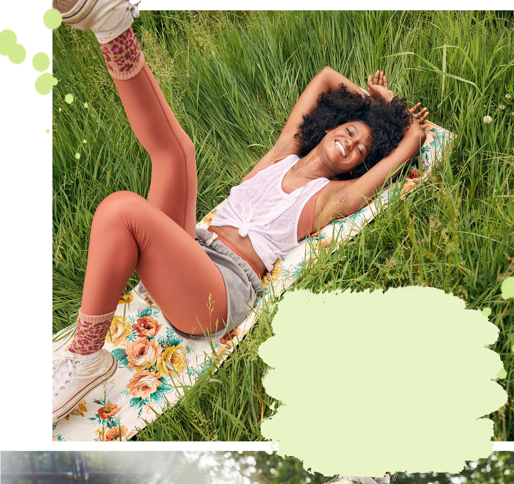 laying in the grass aerie apparel