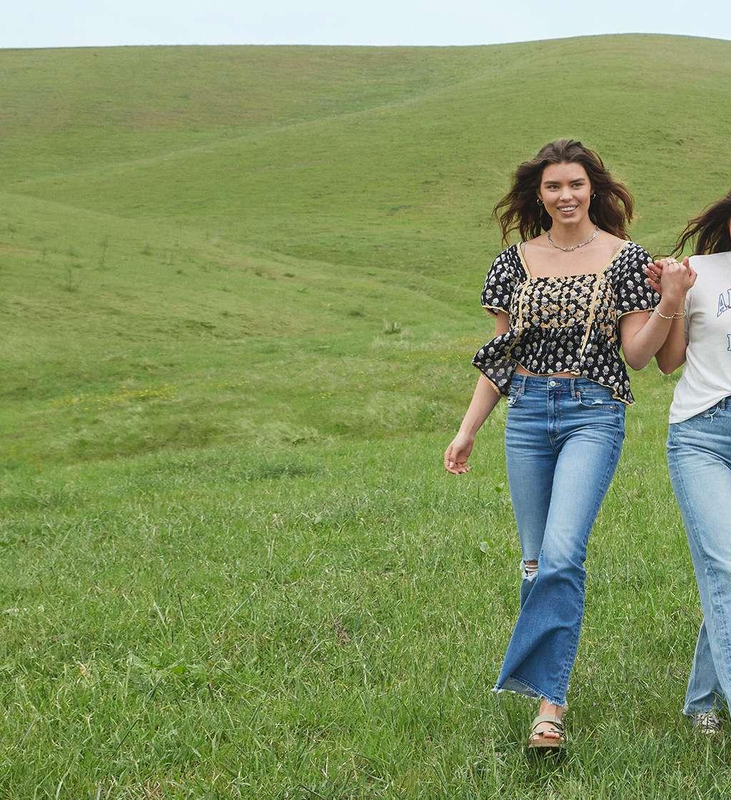 Girls walking on a hill
