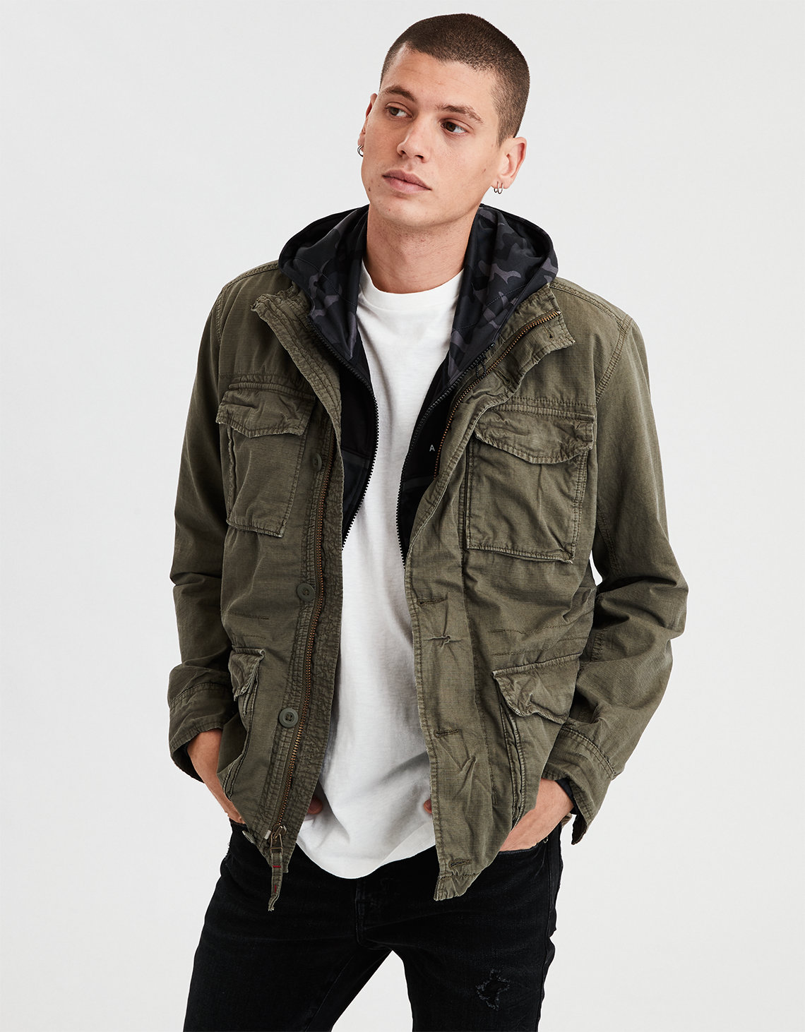 Ae Military Jacket Olive American Eagle Outfitters Tendencies Sweater Hoody Green Zipper S
