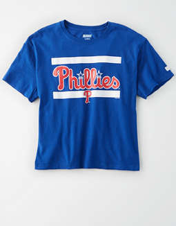 Tailgate Women's Philadelphia Phillies Cropped Graphic T-Shirt