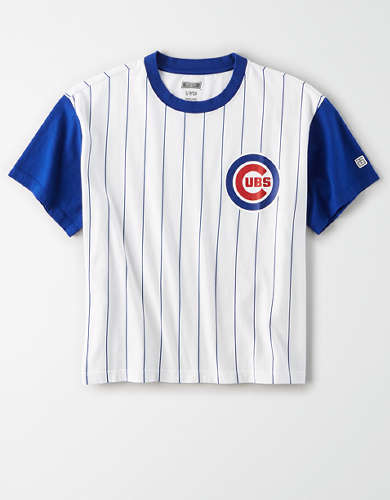 Tailgate Women's Chicago Cubs Cropped Pinstripe T-Shirt