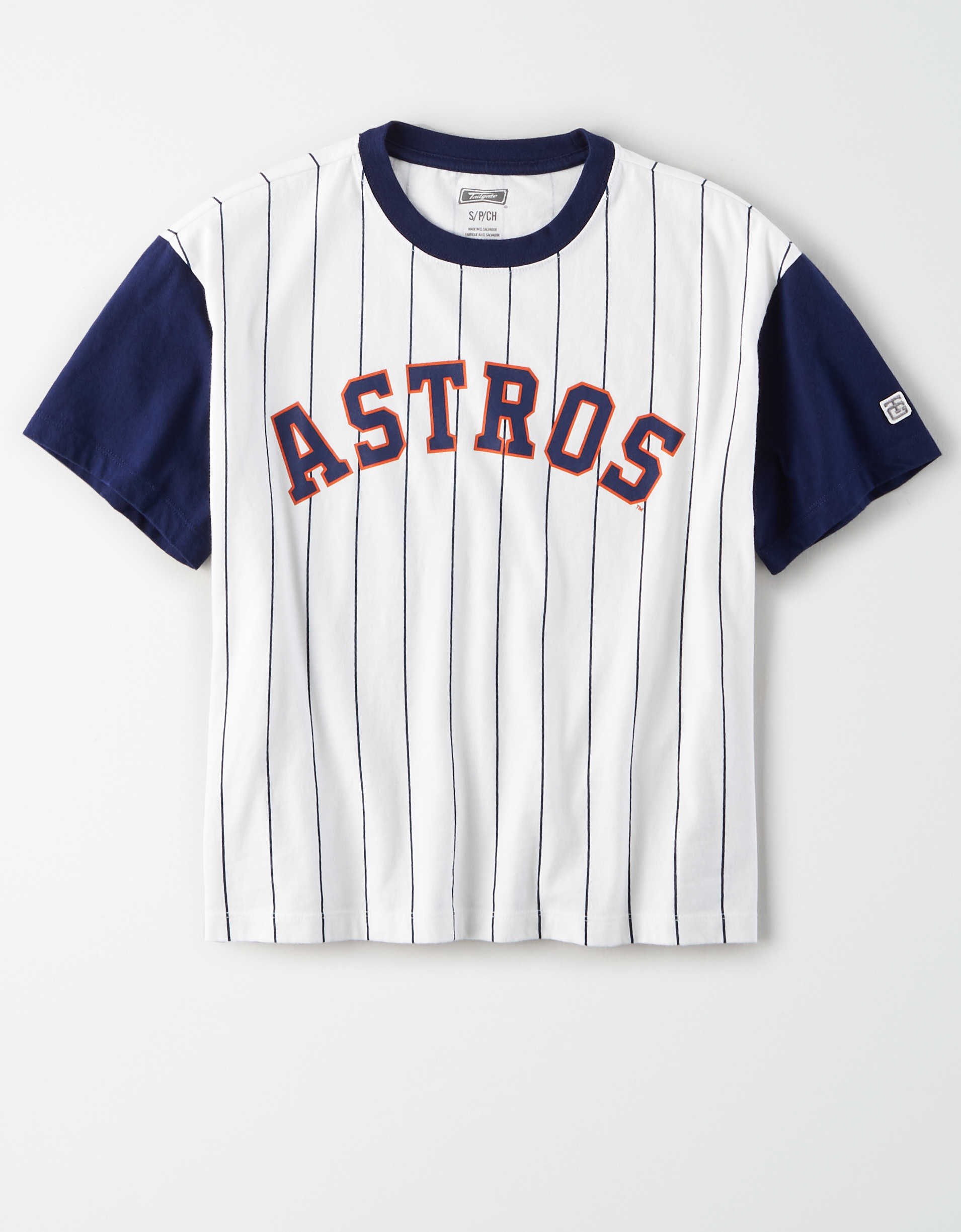 Tailgate Women's Astros Cropped Pinstripe T-Shirt