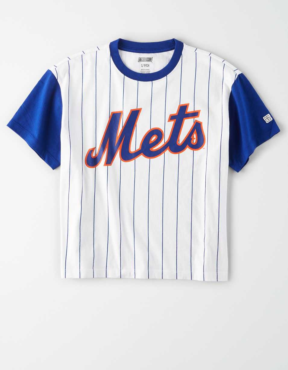 Tailgate Women's NY Mets Cropped Pinstripe T-Shirt