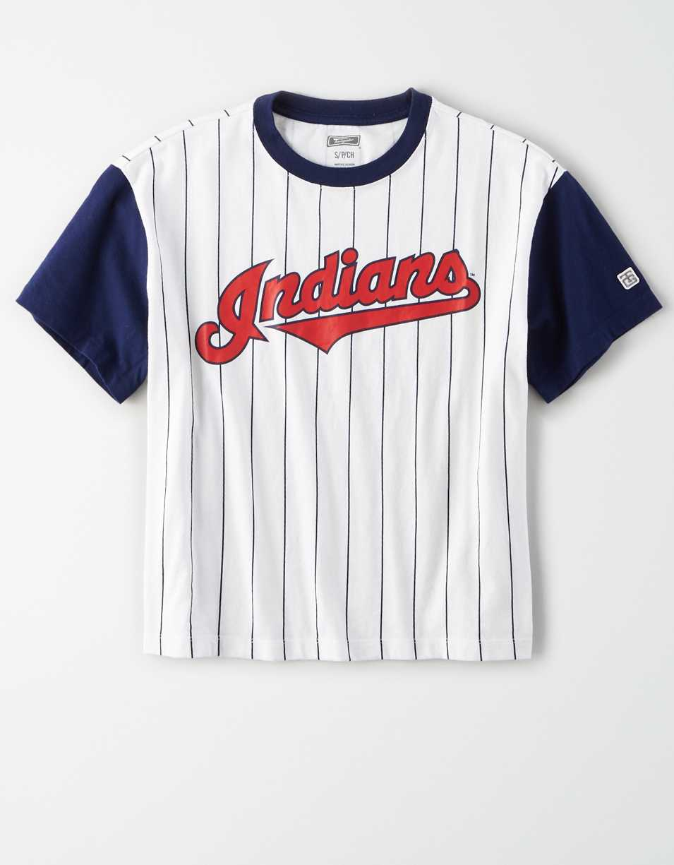 Tailgate Women's Indians Cropped Pinstripe T-Shirt