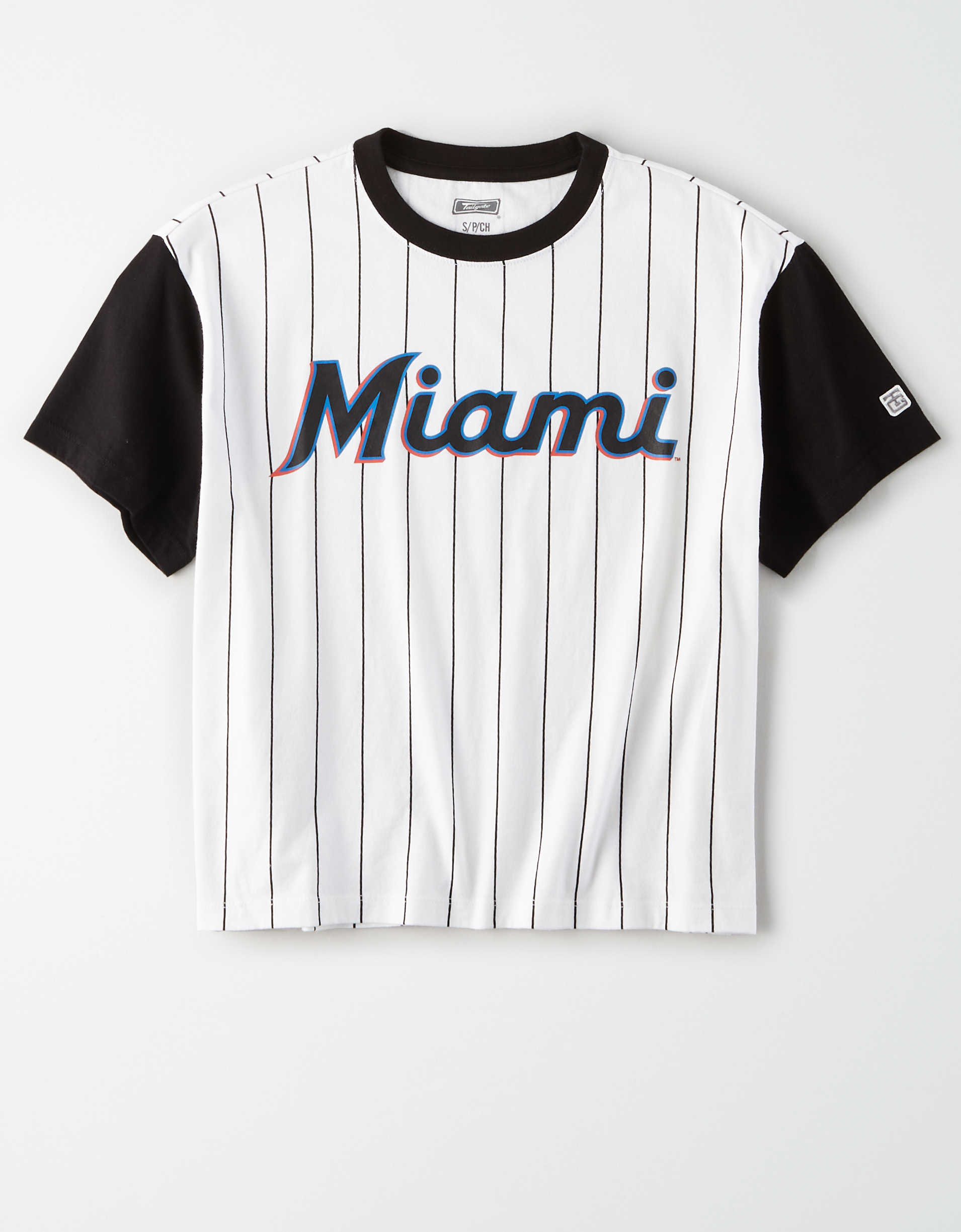 Tailgate Women's Marlins Cropped Pinstripe T-Shirt