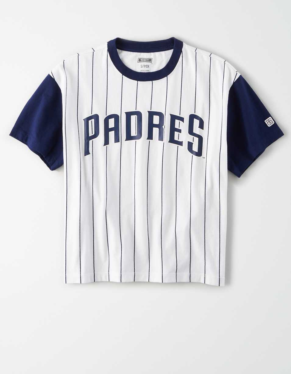 Tailgate Women's Padres Cropped Pinstripe T-Shirt