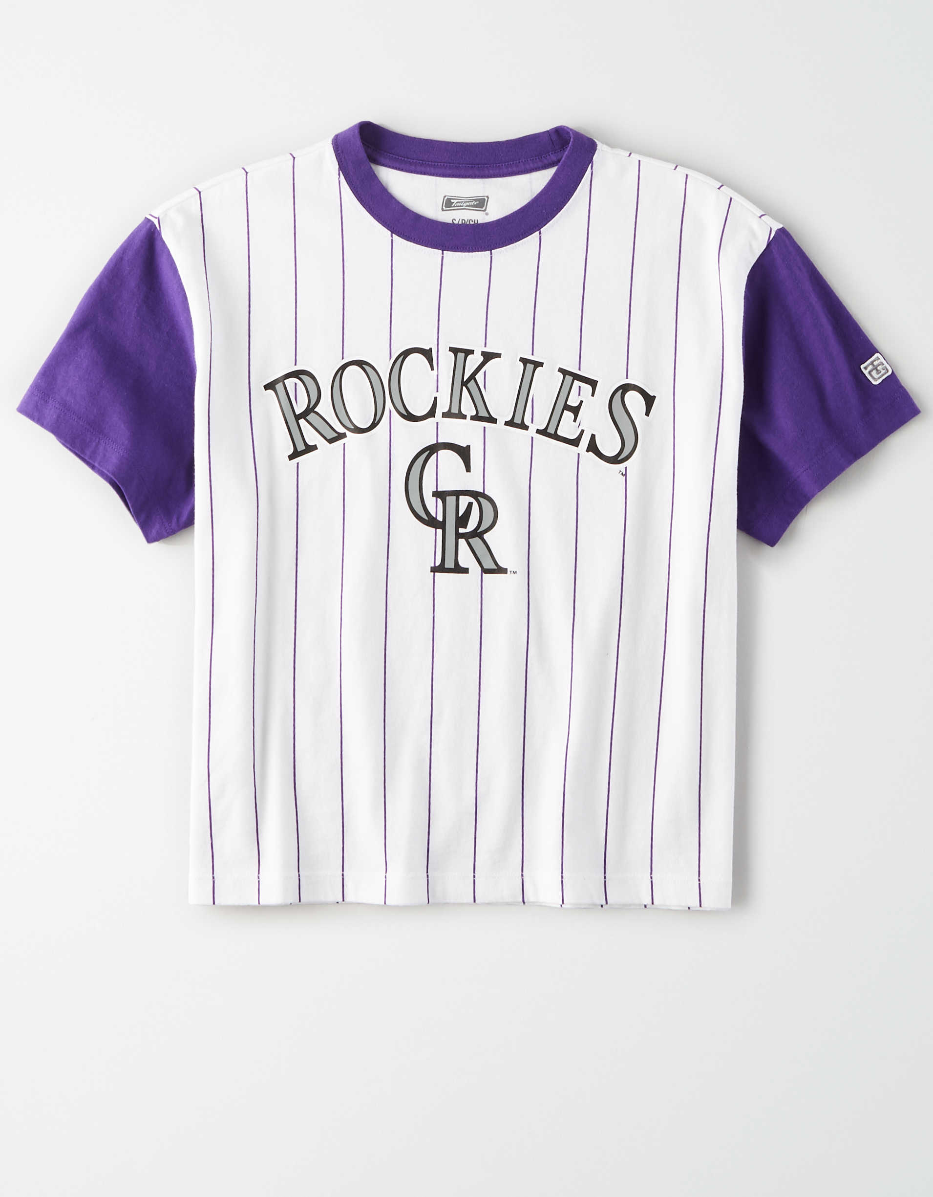 Tailgate Women's Rockies Cropped Pinstripe T-Shirt
