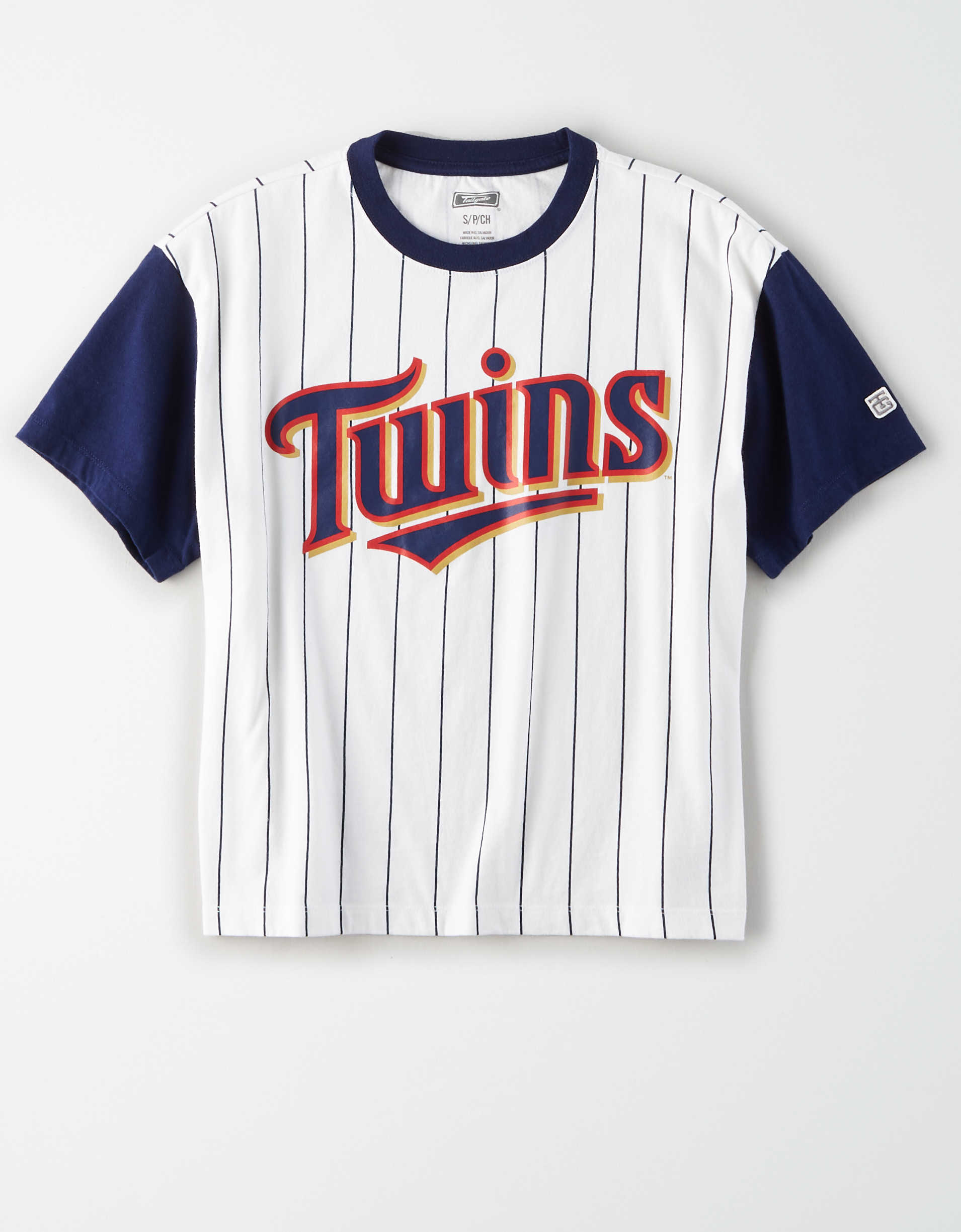 Tailgate Women's Twins Cropped Pinstripe T-Shirt