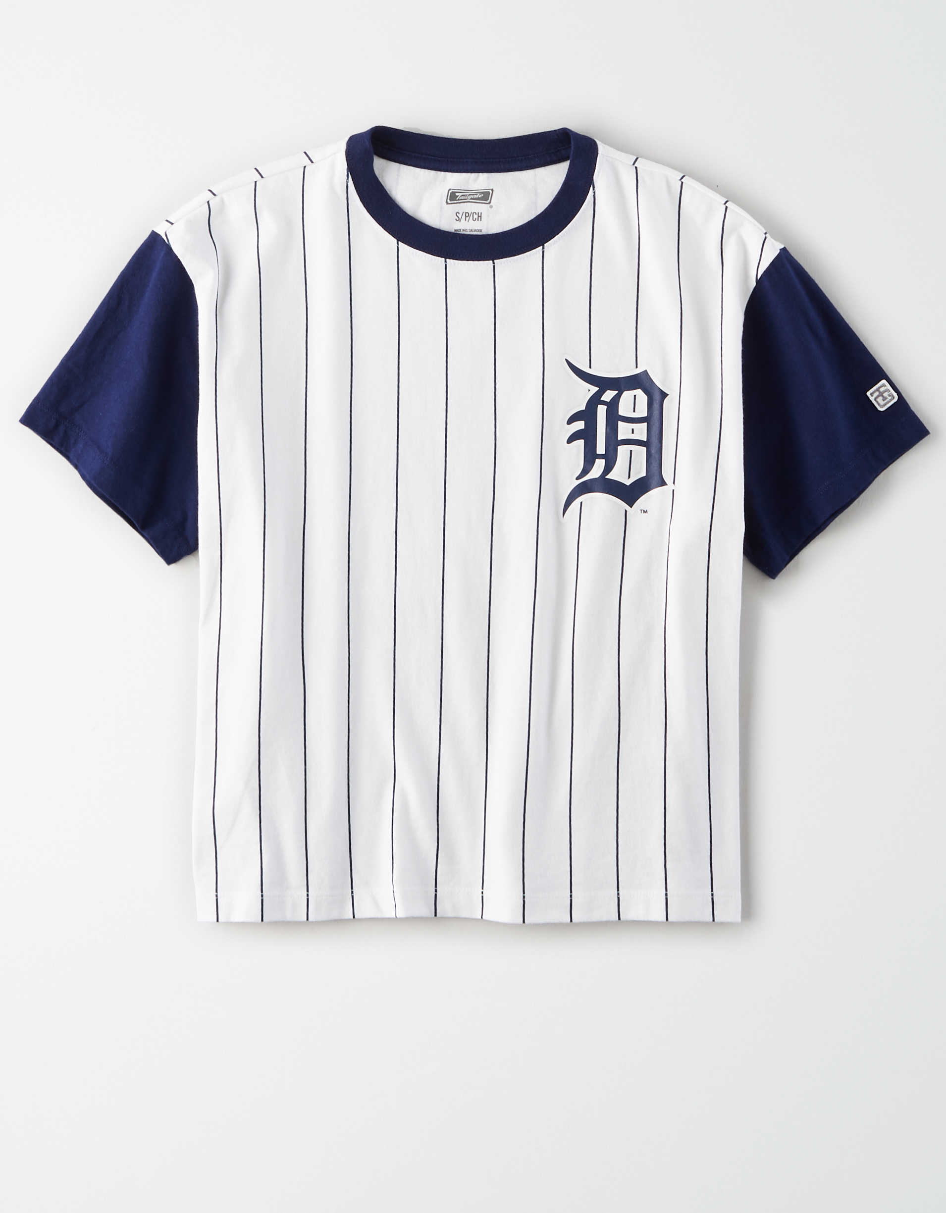 Tailgate Women's Tigers Cropped Pinstripe T-Shirt