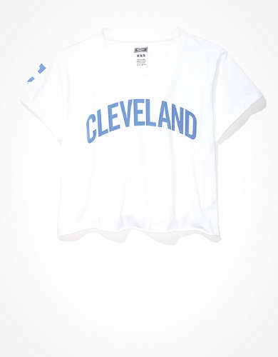 Tailgate Women's Cleveland Indians Cropped Roll Sleeve T-Shirt