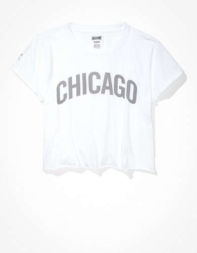 Tailgate Women's Chicago White Sox Cropped Roll Sleeve T-Shirt