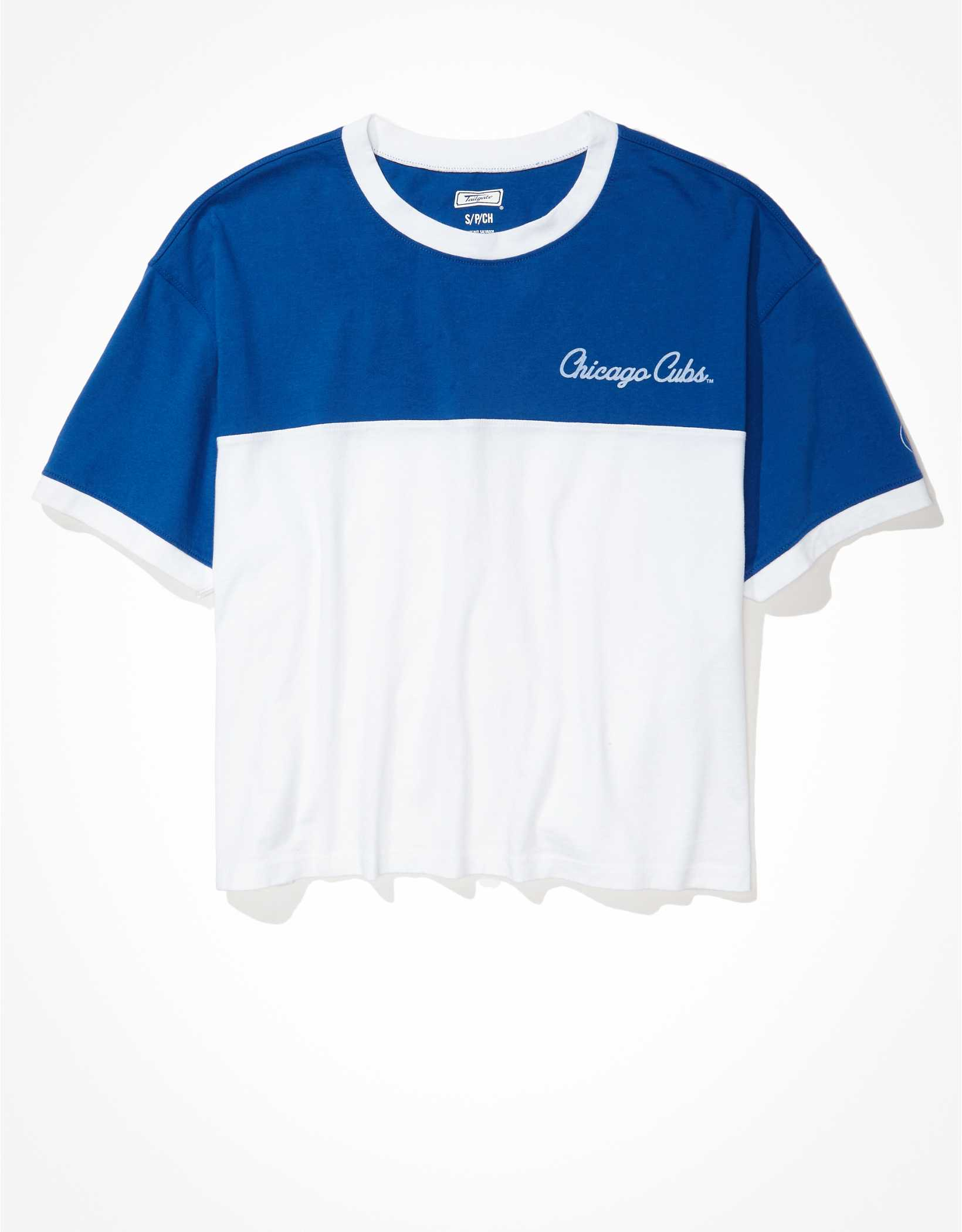 Tailgate Women's Chicago Cubs Cropped Colorblock T-Shirt
