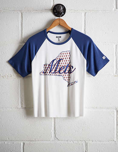 Tailgate Women's NY Mets Cut-Off Baseball Tee - Free Returns