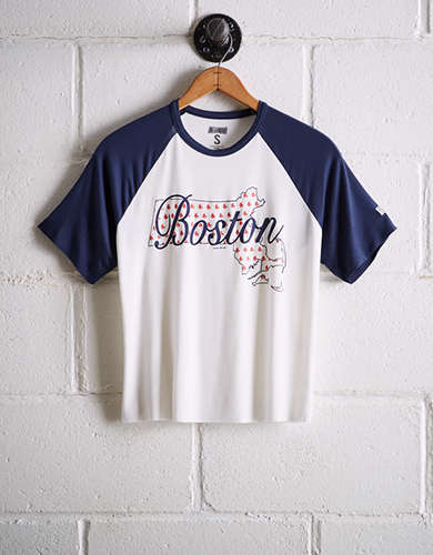 Tailgate Women's Boston Red Sox Cut-Off Baseball Tee - Free Returns