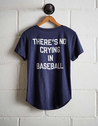 Tailgate Women's Yankees No Crying In Baseball T-Shirt