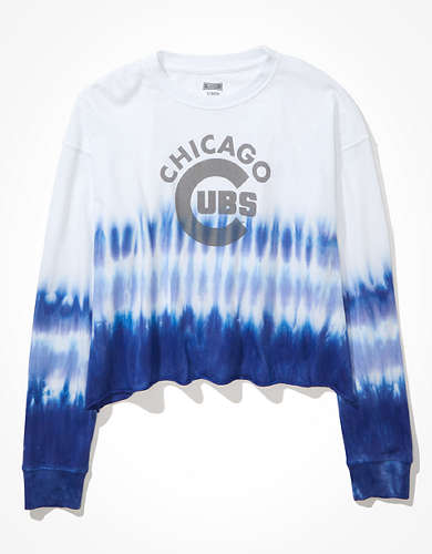 Tailgate Women's Chicago Cubs Cropped Dip-Dye T-Shirt