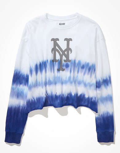 Tailgate Women's New York Mets Cropped Dip-Dye T-Shirt