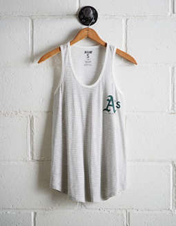 Tailgate Women's Oakland A's Striped Scoop Neck Tank