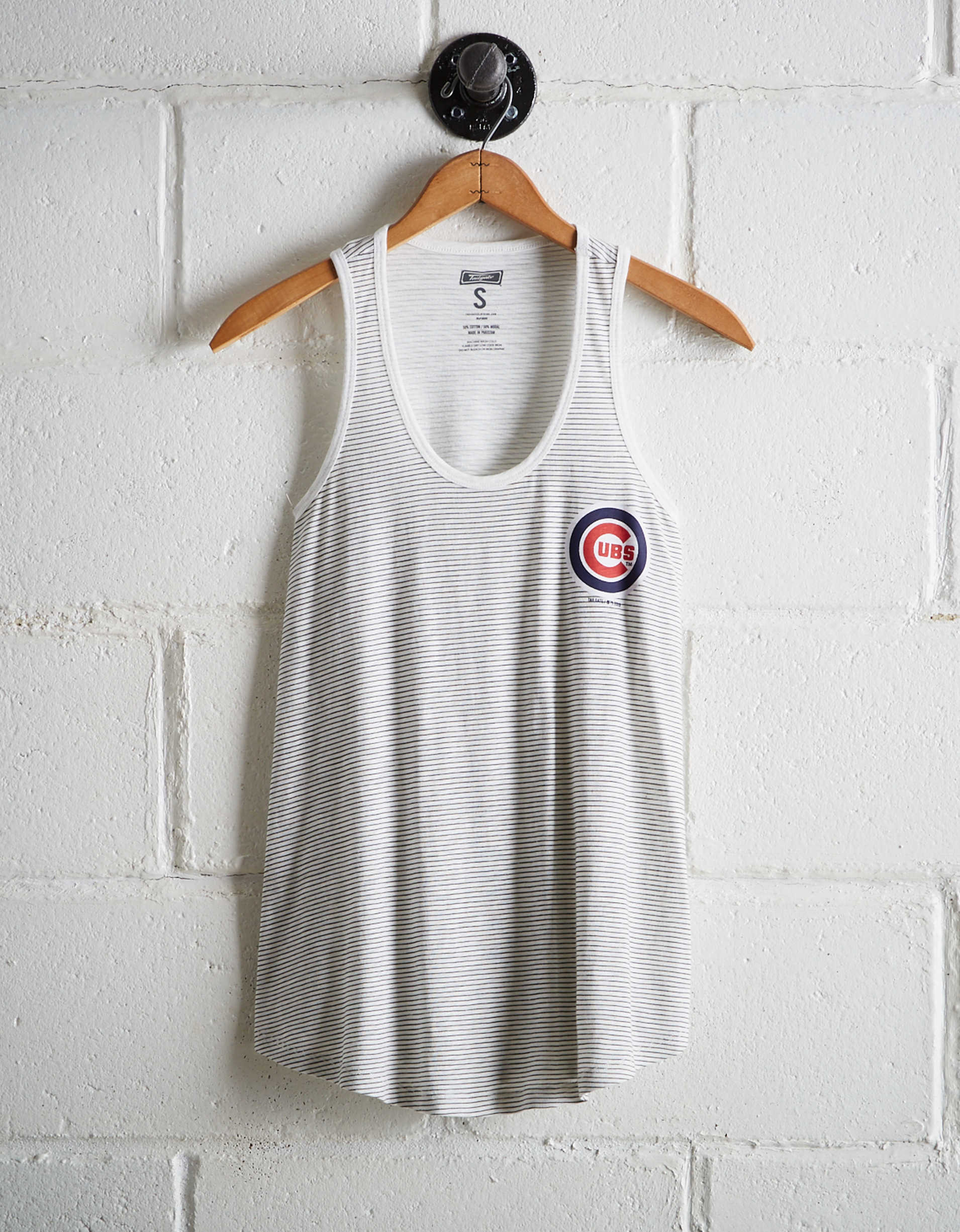 Tailgate Women's Cubs Striped Scoop Neck Tank