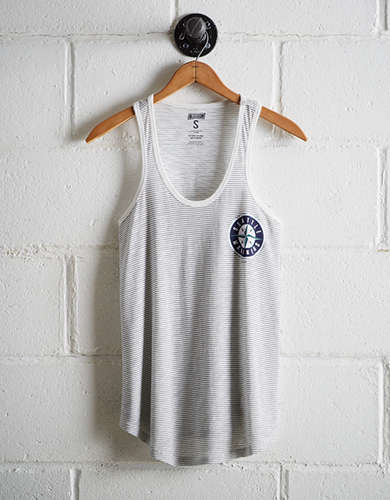 Tailgate Women's Seattle Mariners Striped Scoop Neck Tank - Free Returns