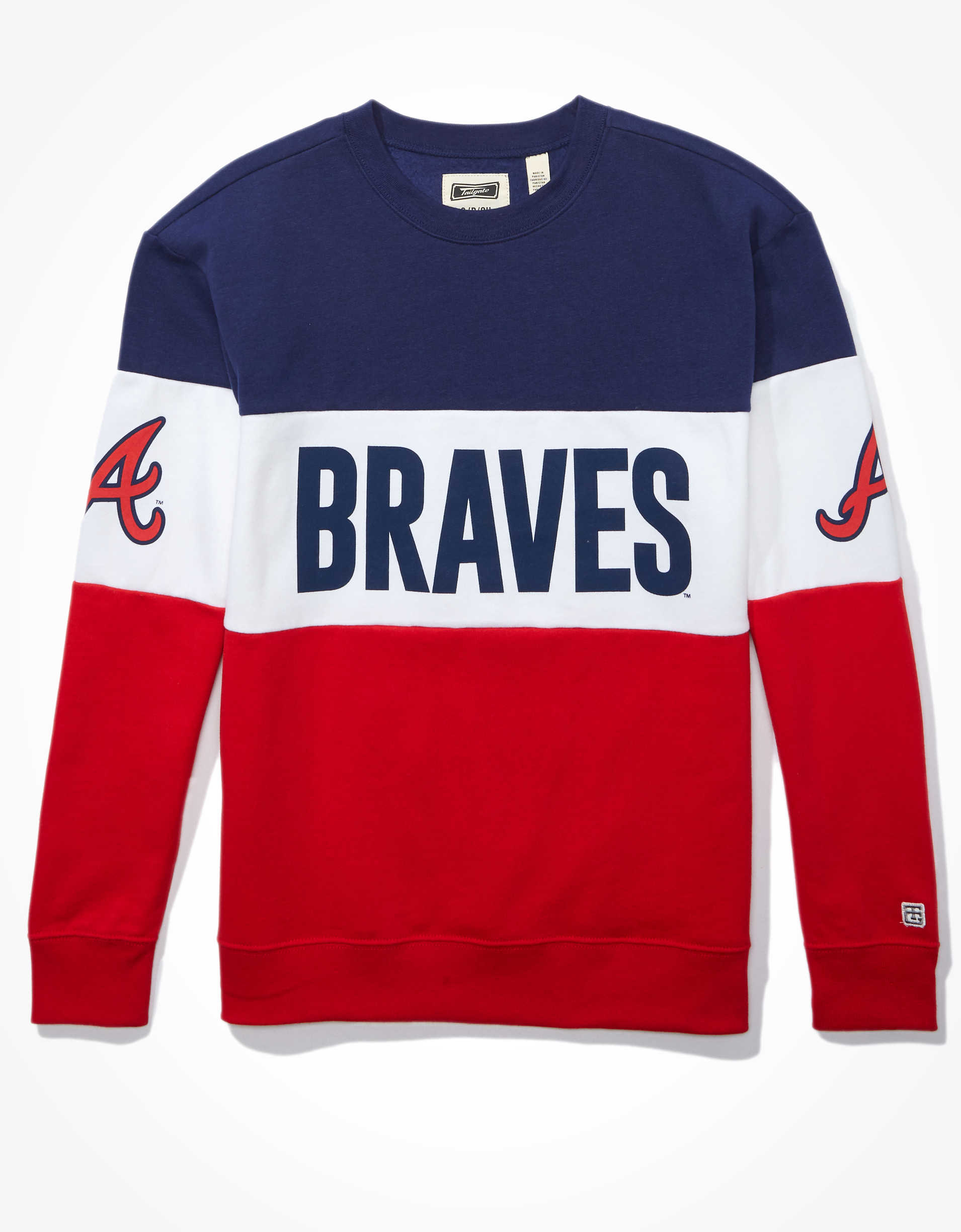 Tailgate Women's Atlanta Braves Colorblock Sweatshirt
