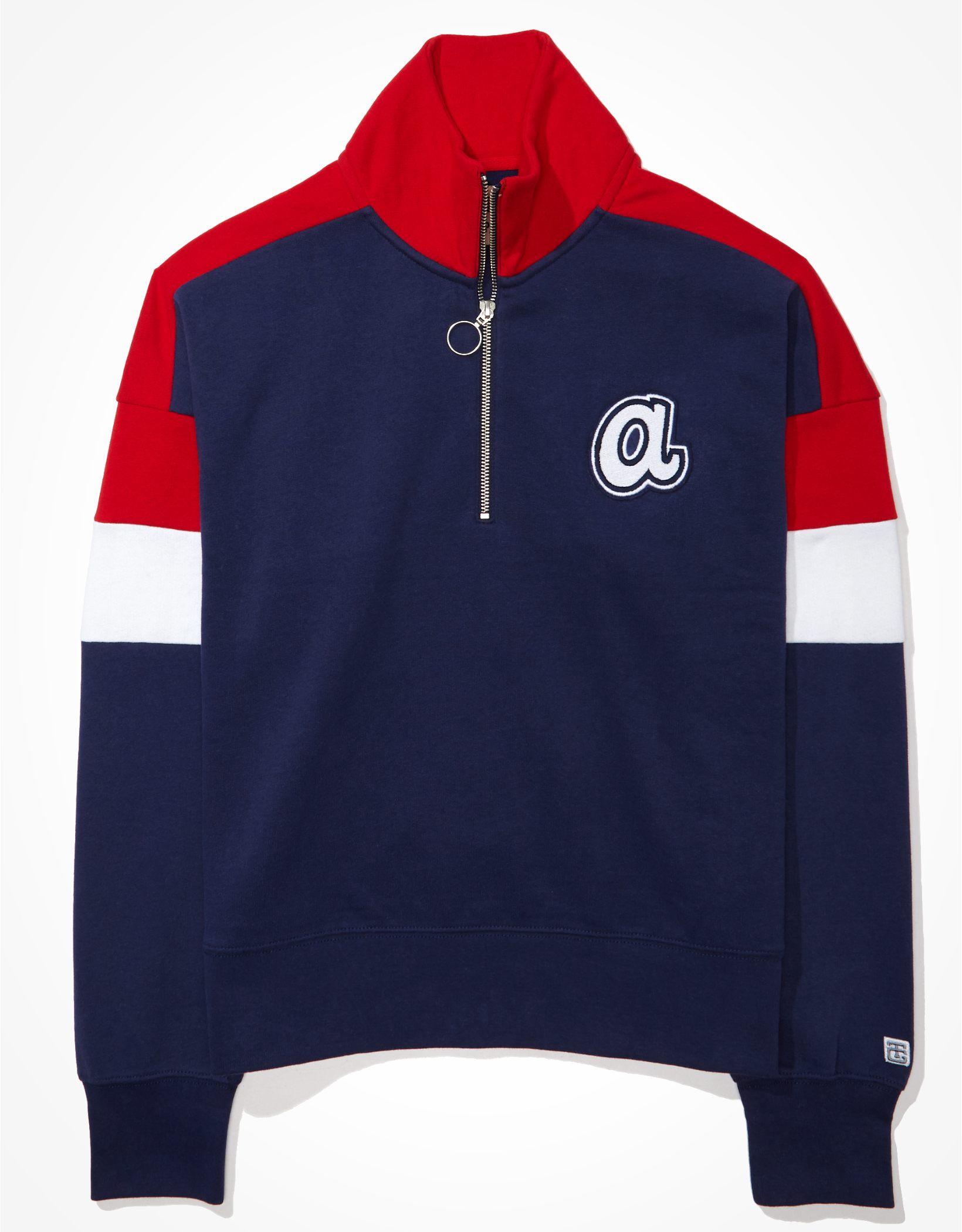 Tailgate Women's Atlanta Braves Colorblock 1/4 Zip Sweatshirt