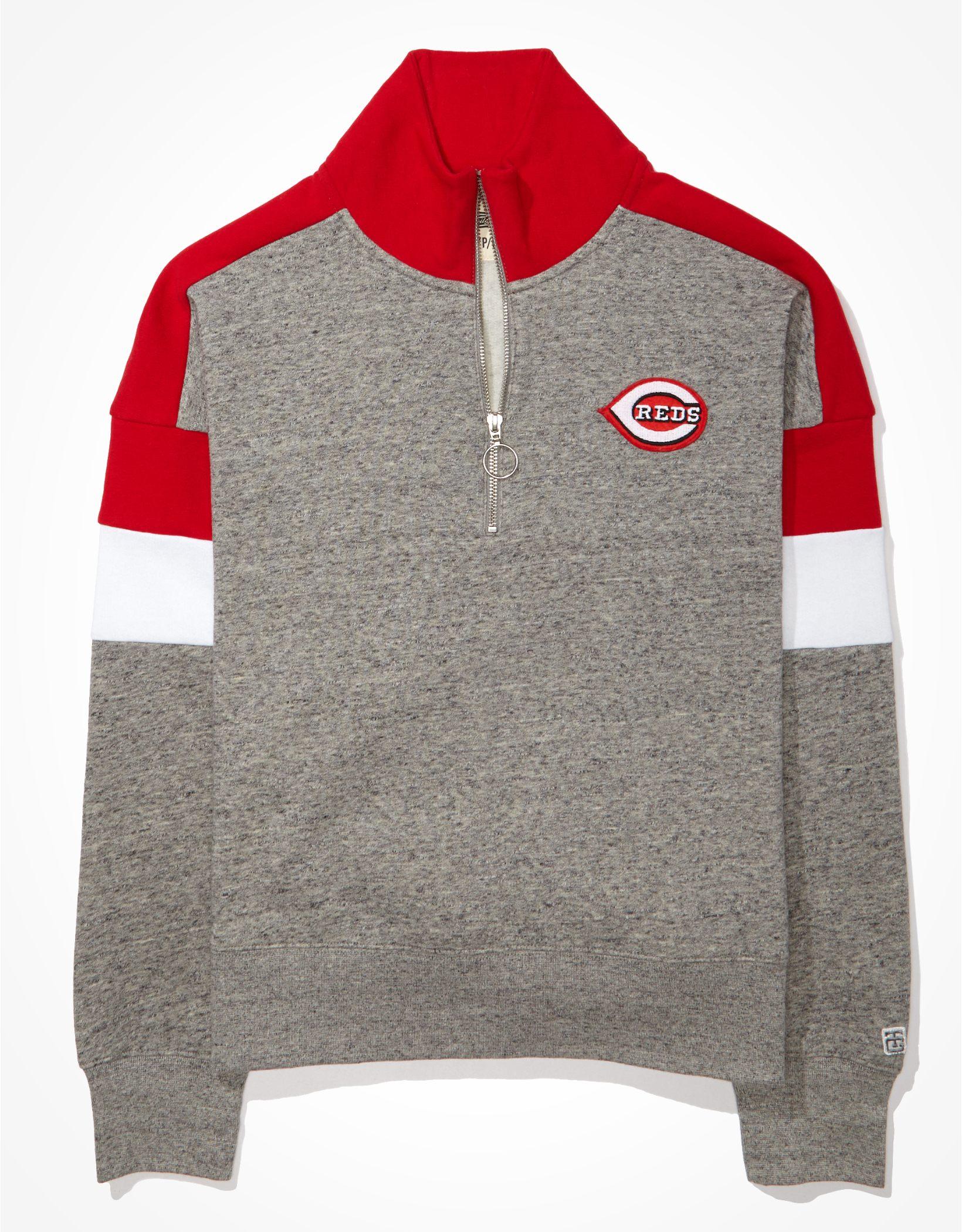 Tailgate Women's Cincinnati Reds Colorblock 1/4 Zip Sweatshirt