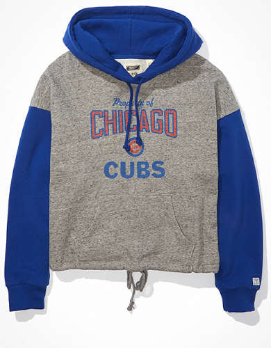 Tailgate Women's Chicago Cubs Colorblock Cropped Hoodie
