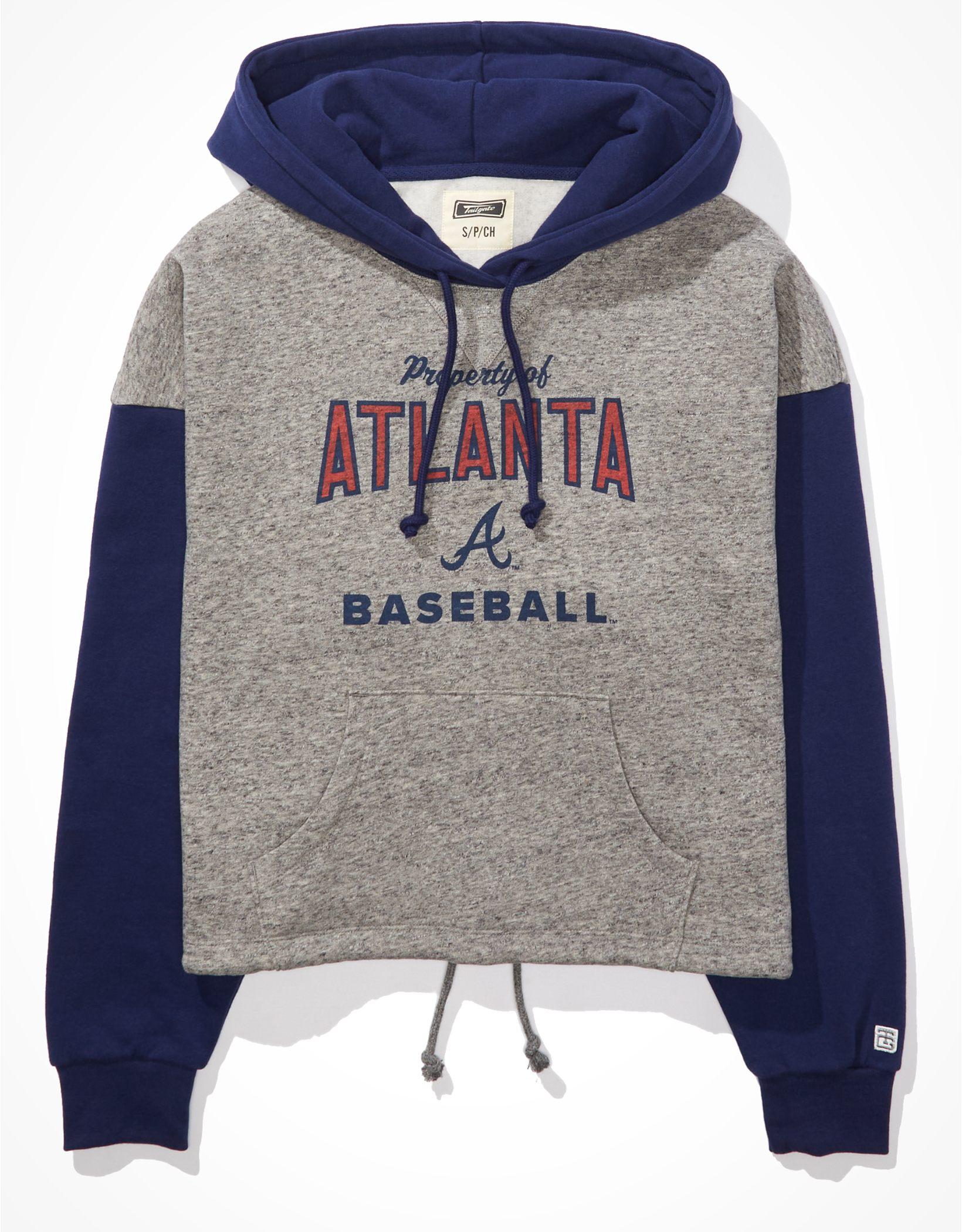 Tailgate Women's Atlanta Braves Colorblock Cropped Hoodie