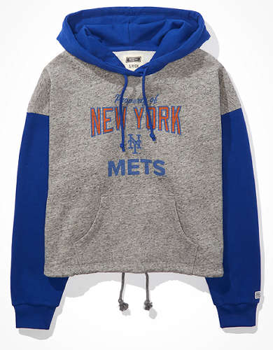 Tailgate Women's NY Mets Colorblock Cropped Hoodie