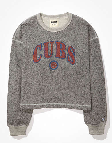 Tailgate Women's Chicago Cubs Raw Hem Cropped Sweatshirt