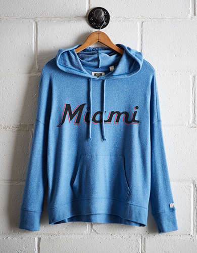 Tailgate Women's Miami Marlins Plush Hoodie - Free Returns