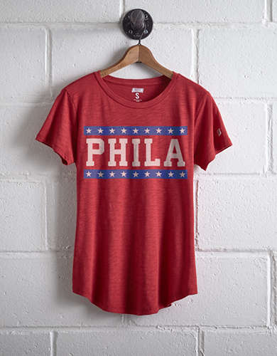 Tailgate Women's PHILA Chest Stripe T-Shirt - Free Returns