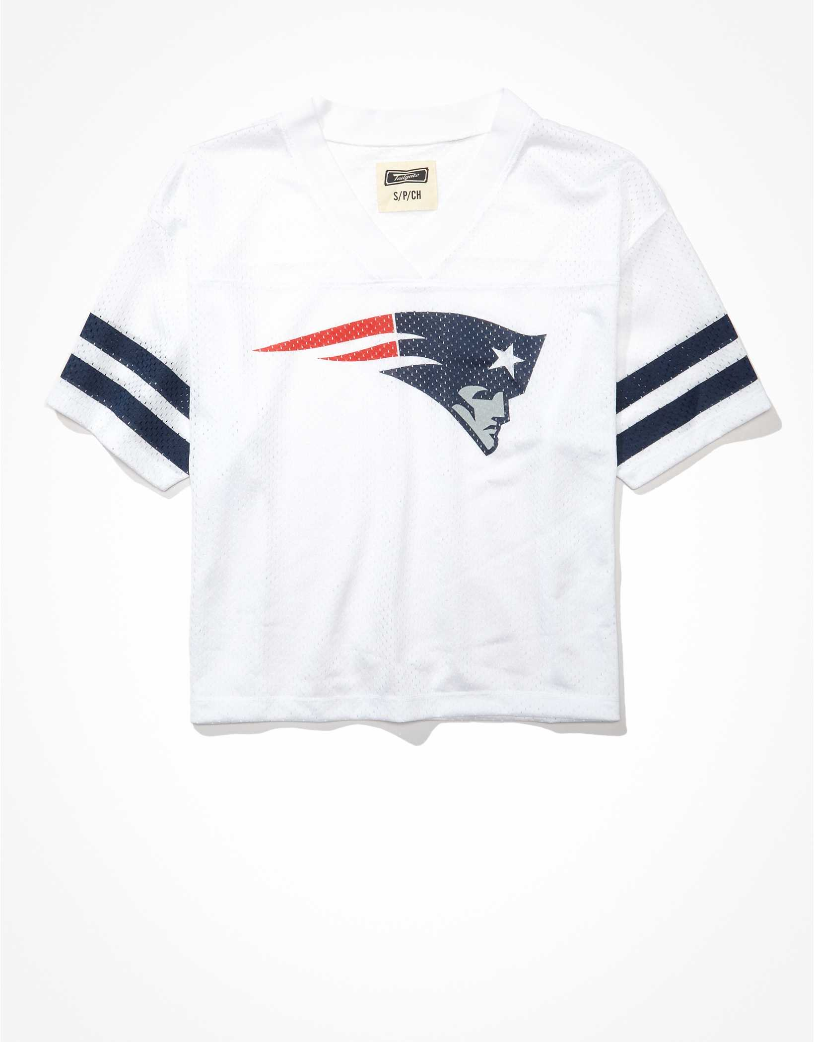 Tailgate Women's New England Patriots Cropped Mesh Jersey
