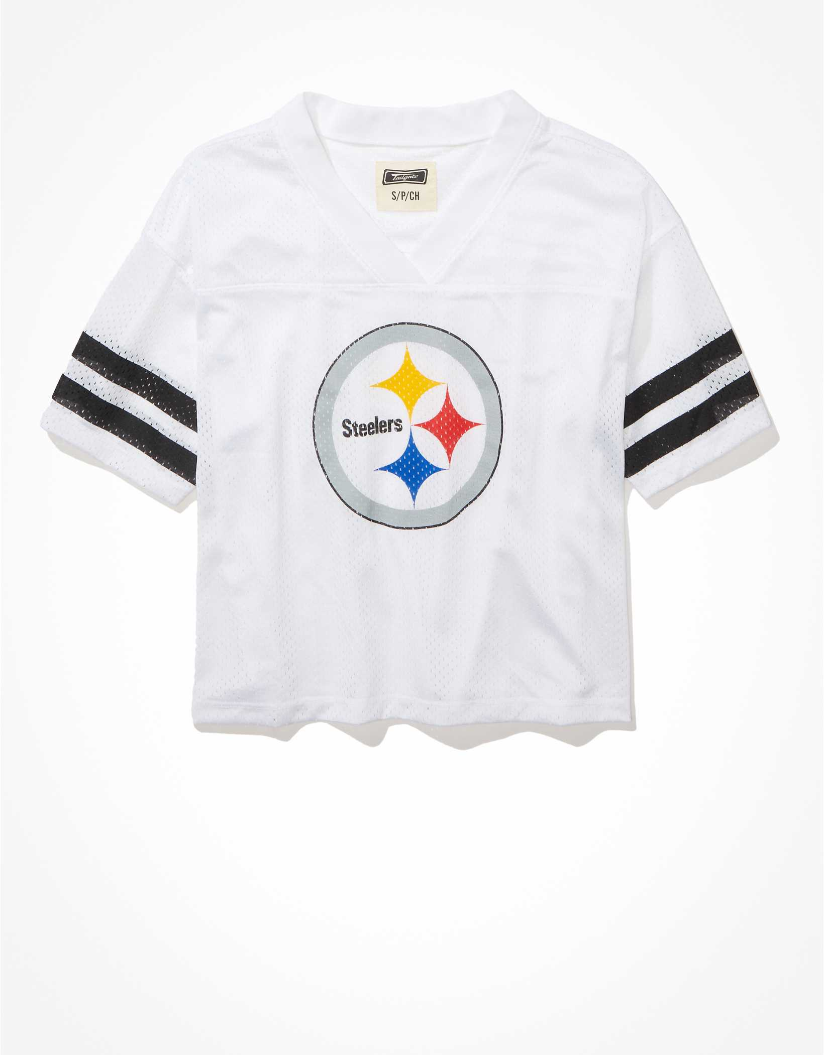 Tailgate Women's Pittsburgh Steelers Cropped Mesh Jersey