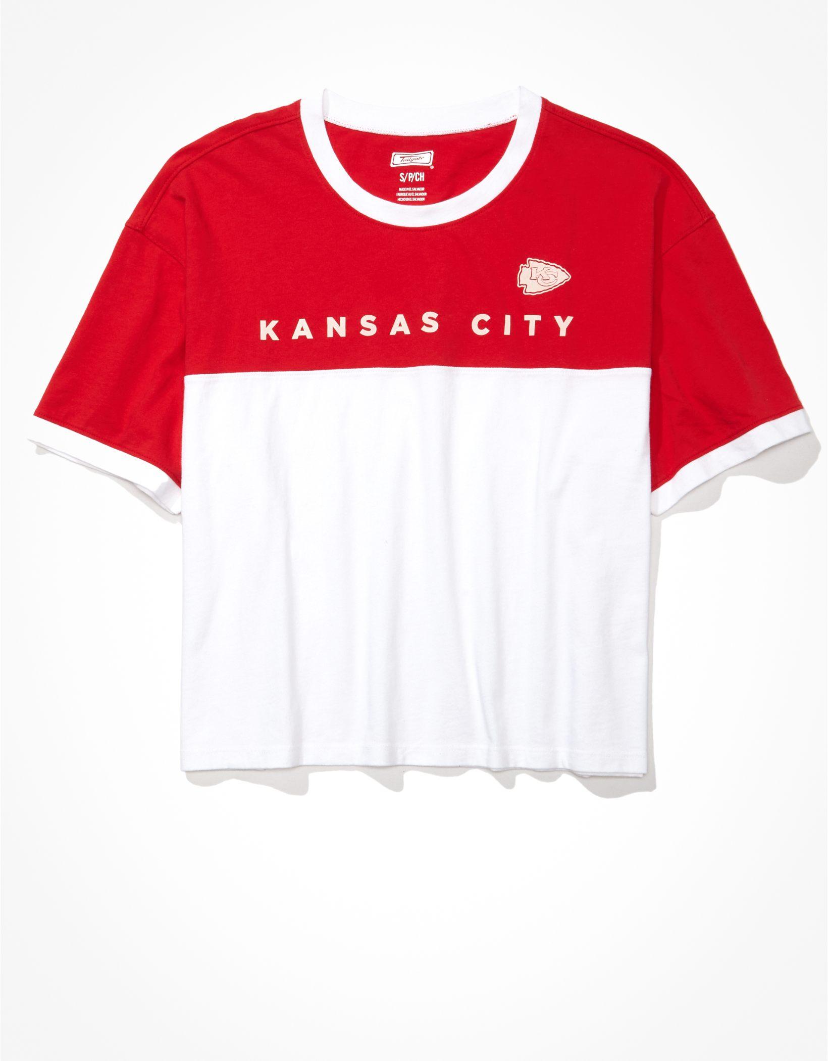 Tailgate Women's Kansas City Chiefs Cropped Colorblock T-Shirt