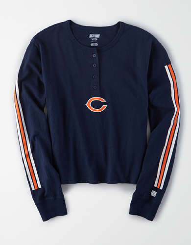 Tailgate Women's Chicago Bears Cropped Henley Tee