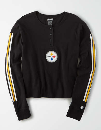 Tailgate Women's Pittsburgh Steelers Cropped Henley Tee