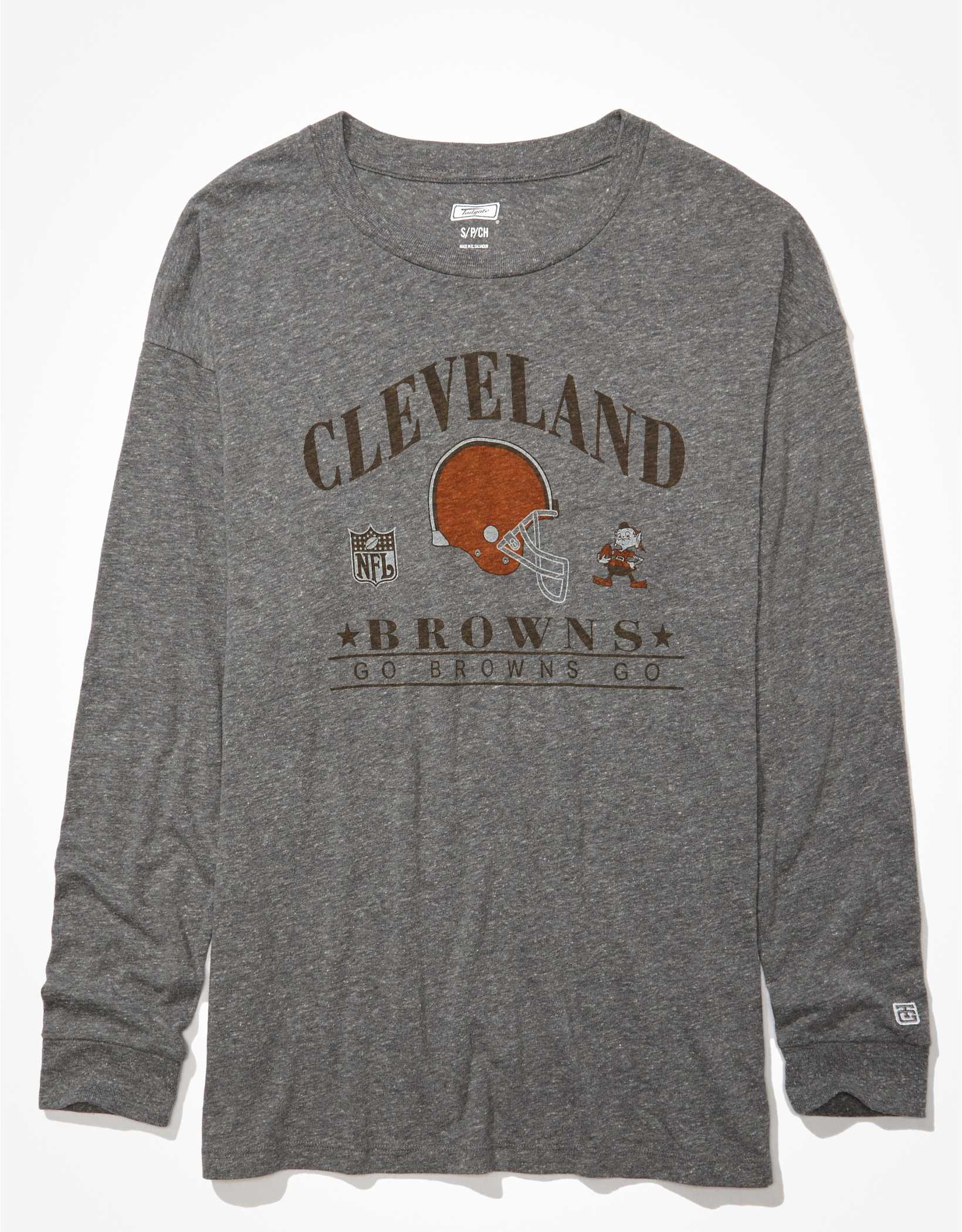 Tailgate Women's Cleveland Browns Long-Sleeve Graphic T-Shirt