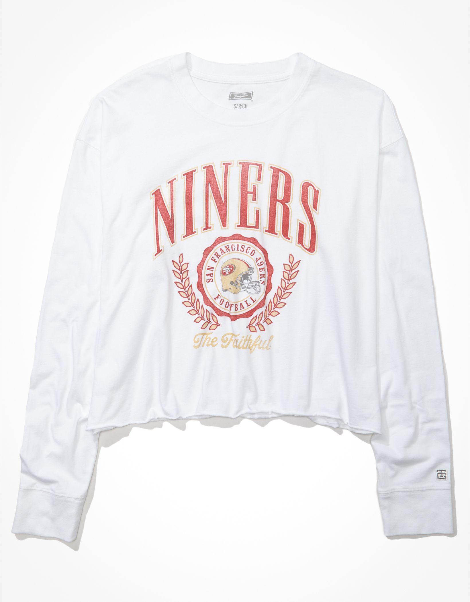 Tailgate Women's San Francisco 49ers Raw Hem Long-Sleeve T-Shirt