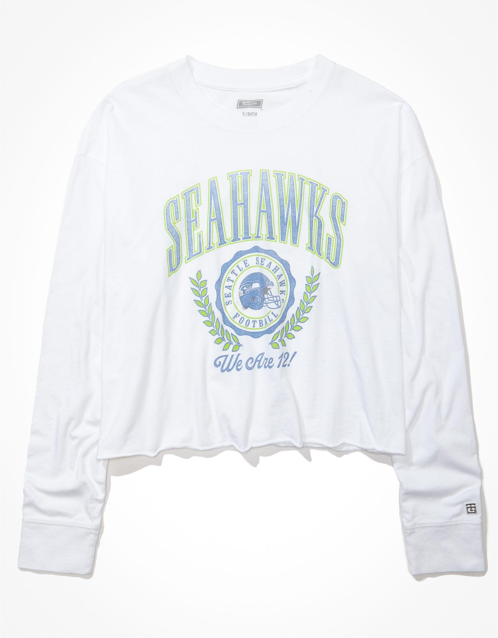 Tailgate Women's Seattle Seahawks Raw Hem Long-Sleeve T-Shirt