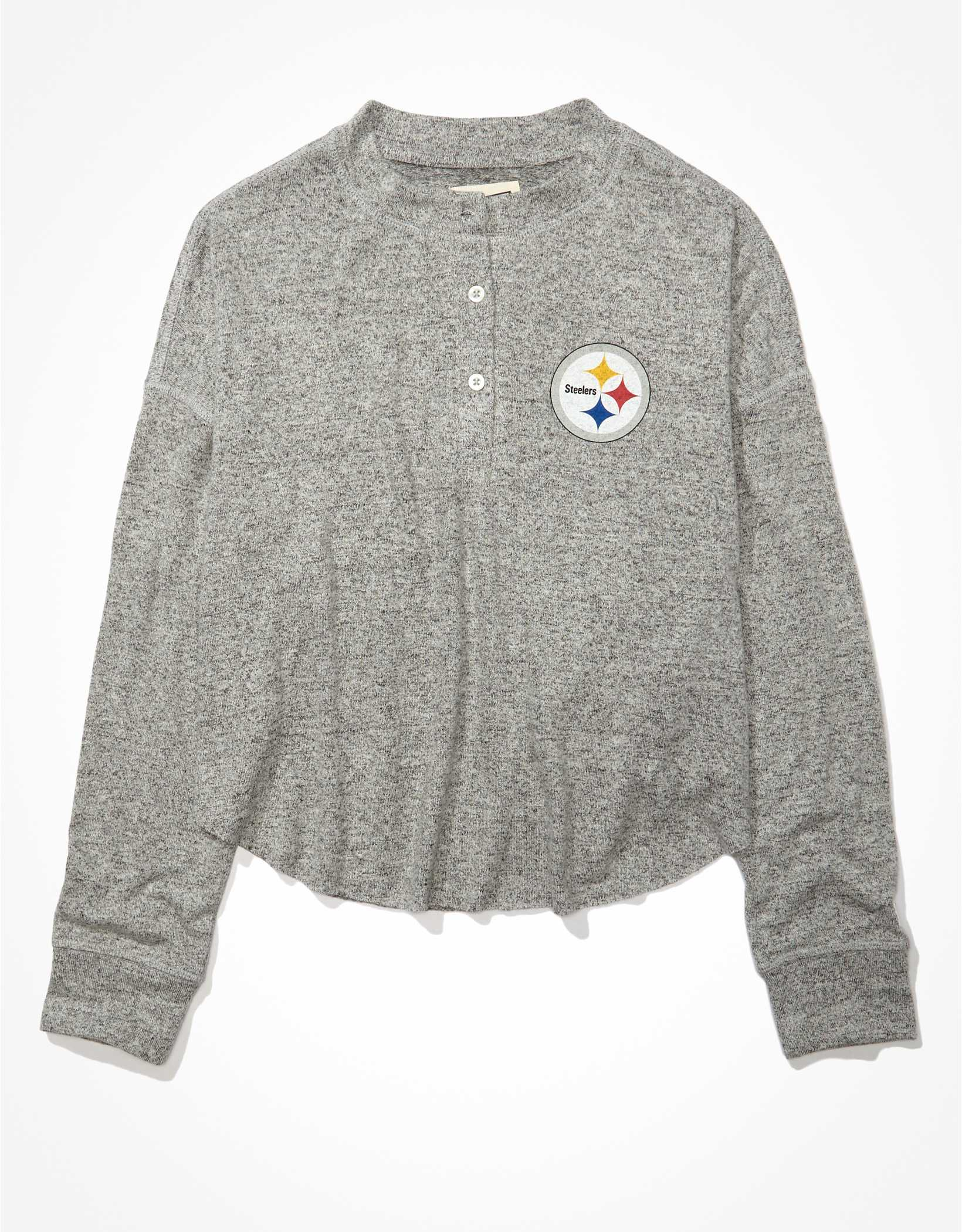 Tailgate Women's Pittsburgh Steelers Long-Sleeve Plush Henley