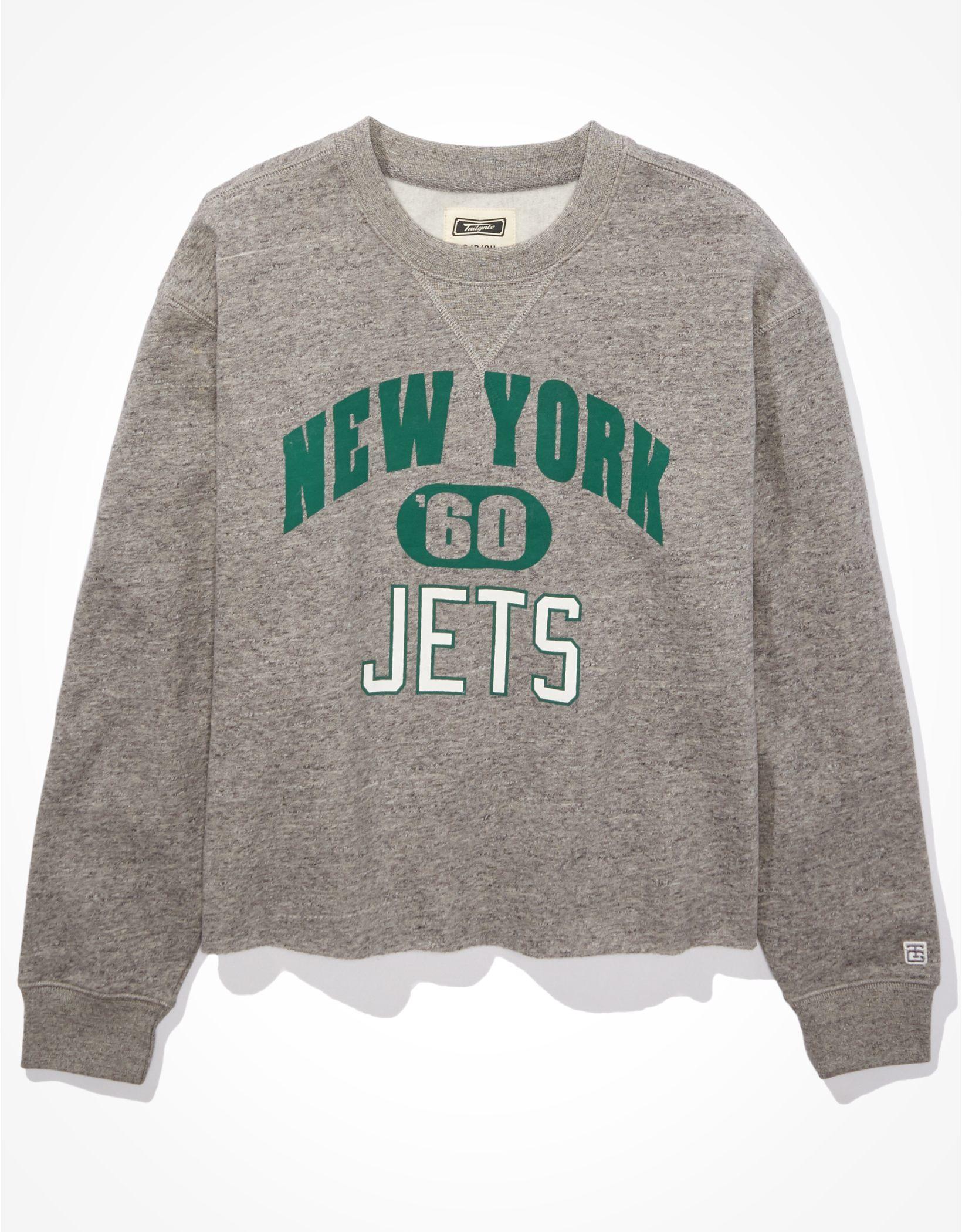 Tailgate Women's New York Jets Cut-Off Sweatshirt