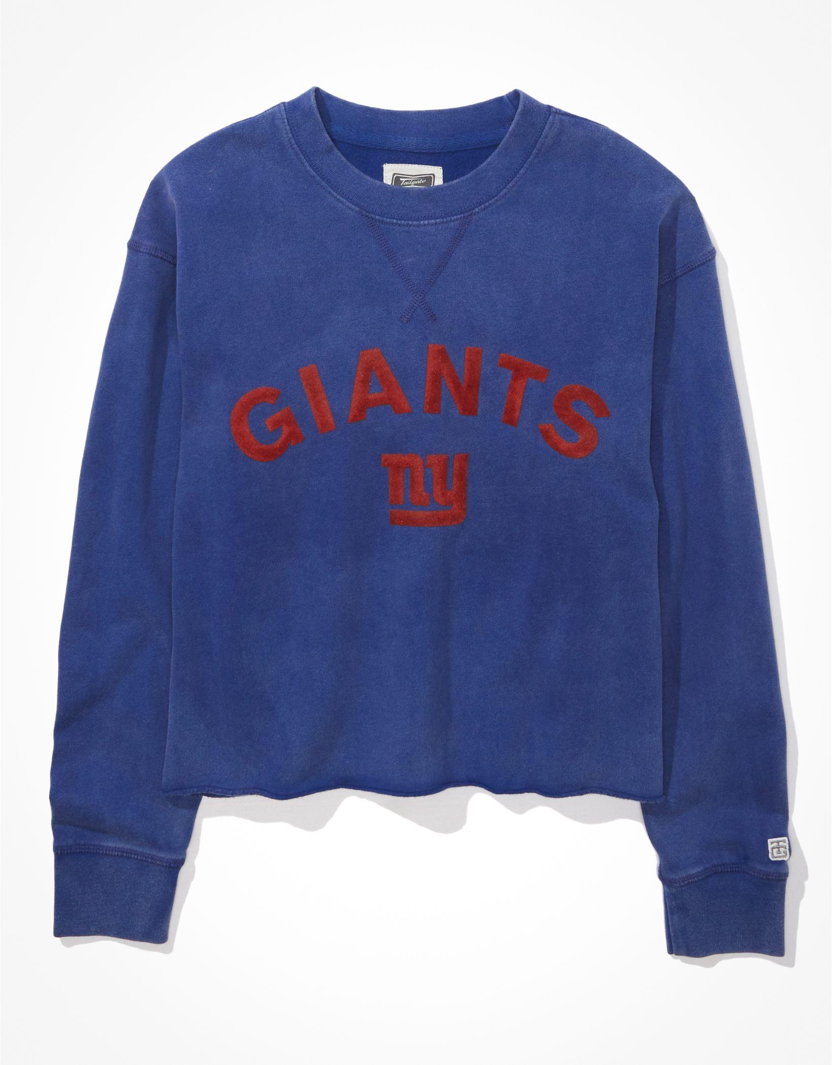 Tailgate Women's New York Giants Raw Hem Sweatshirt